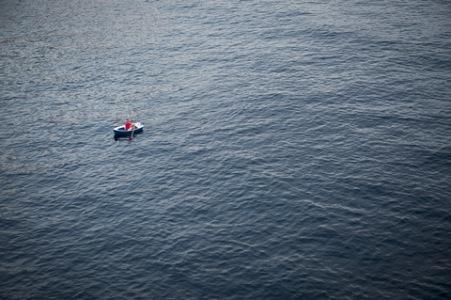 alene på havet